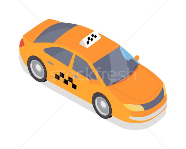 Táxi carro o ícone do vetor isométrica projeção ícone Foto stock © robuart
