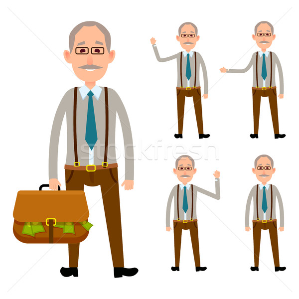 Elderly Person Holding Bag with Money on White Stock photo © robuart
