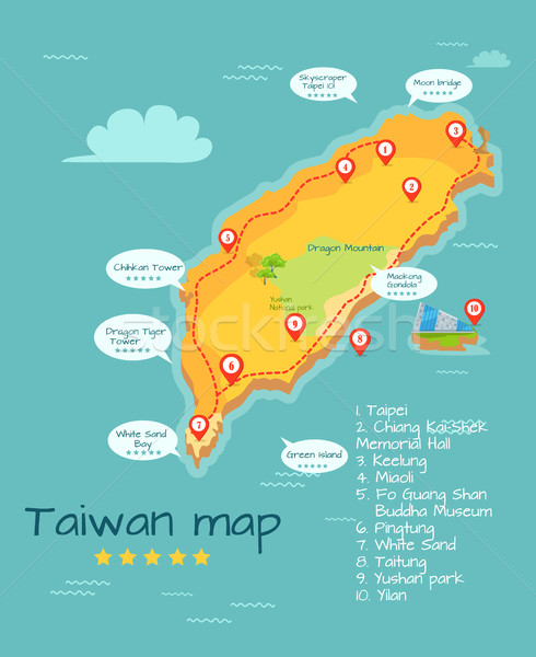 Cartoon Taiwan Map with Famous Places Illustration Stock photo © robuart