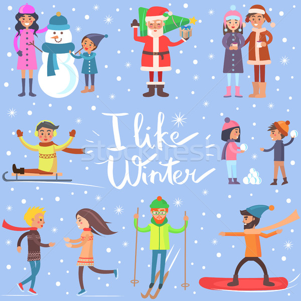 I Like Winter Poster with Sportive Happy People Stock photo © robuart