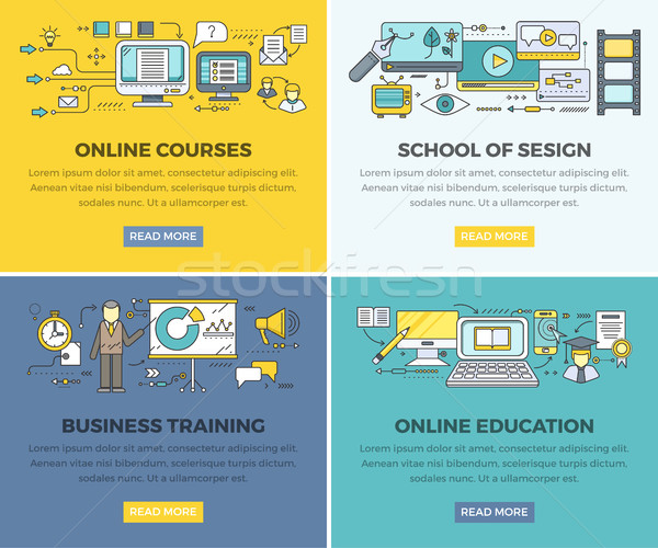 Online Education Courses Vector Web Banners Set Stock photo © robuart