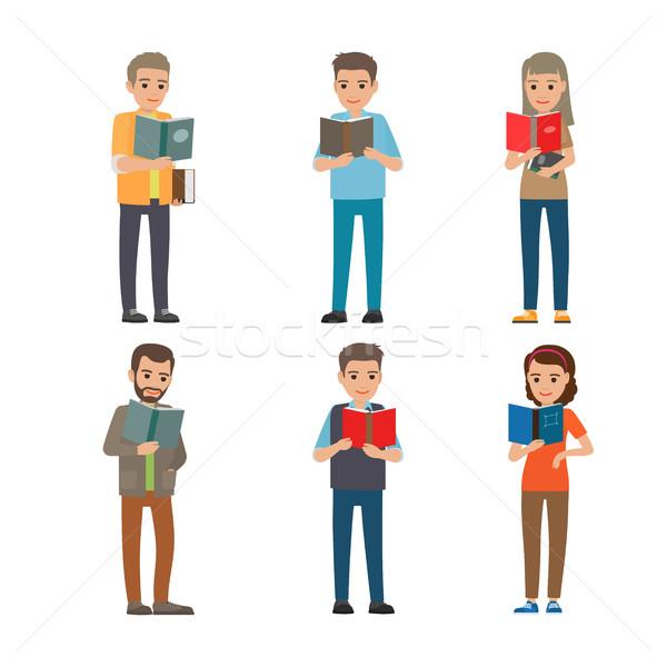Karikatur Lesung Menschen männlich weiblichen Pfund Stock foto © robuart