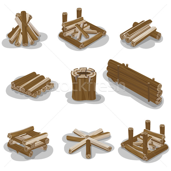 Campfire Stumps Logs Collection Isolated on White Stock photo © robuart