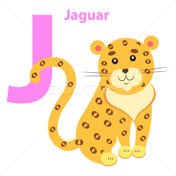 English Nursery card with Lilac Character J Jaguar Stock photo © robuart