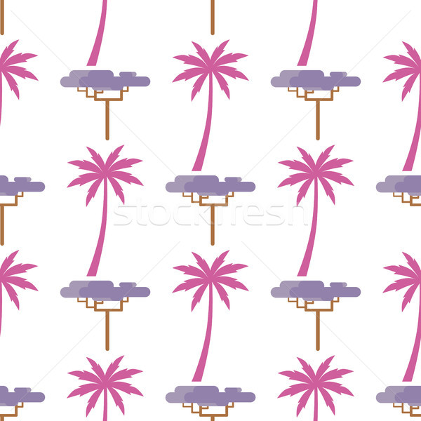 Pink Palm and Violet Exotic Tree Isolated on White Stock photo © robuart