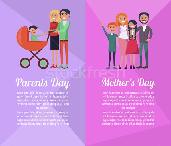 セット バナー 献身的な 両親 母親 幸せ ストックフォト © robuart