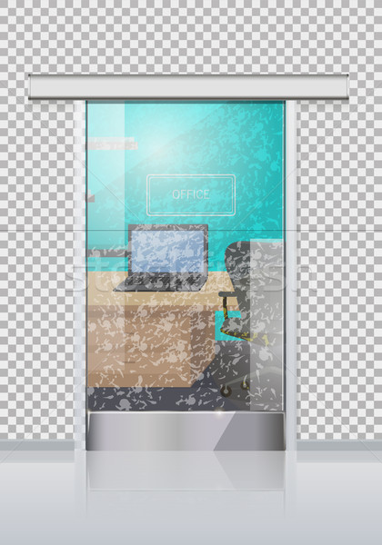 Office Interior Through Glass Door Flat Vector Stock photo © robuart