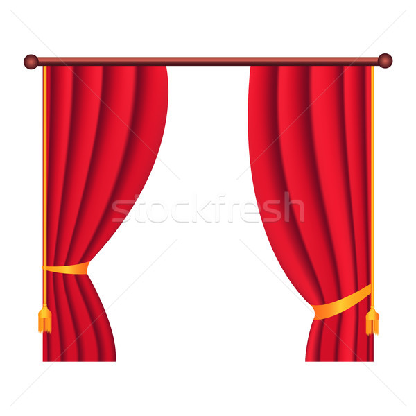 Long Silk Red Theater Curtain Hangs on Cornice Stock photo © robuart