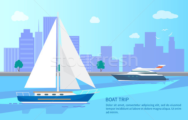 Boat Trip Promotional Poster with Modern Vessels Stock photo © robuart