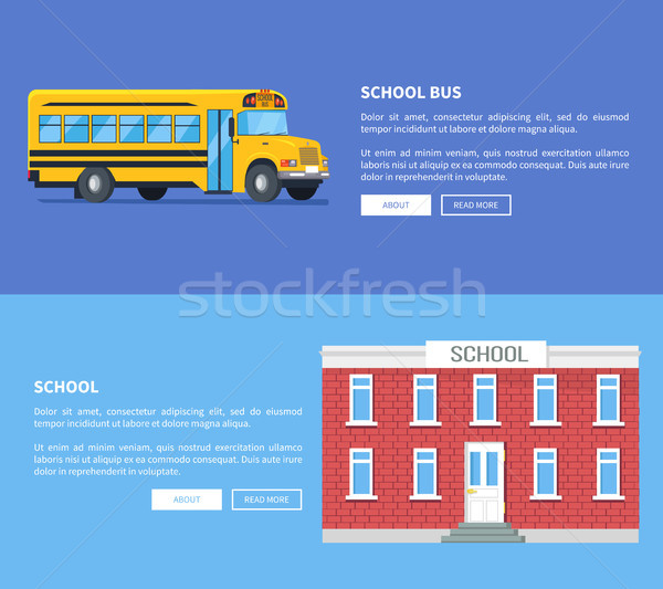 School Bus and Building Set of Vector Posters. Stock photo © robuart