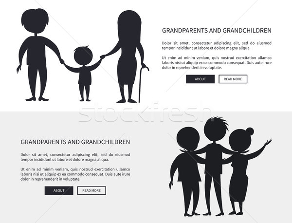 Grandparents and Grandson Little and Grown up Set Stock photo © robuart