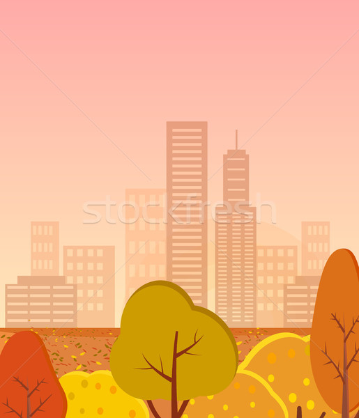Autumn City with Golden Trees Vector Illustration Stock photo © robuart