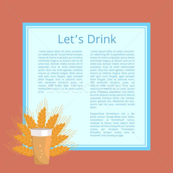 Beber quartilho cerveja cartaz vidro Foto stock © robuart