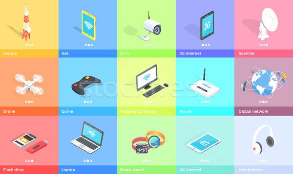 Elektronikus kütyük gyűjtemény színes poszter hátterek Stock fotó © robuart