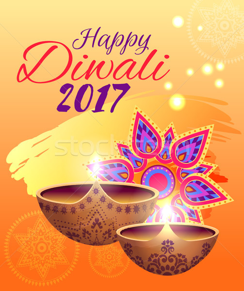 Happy Diwali Festival of Lights Bright Poster Stock photo © robuart