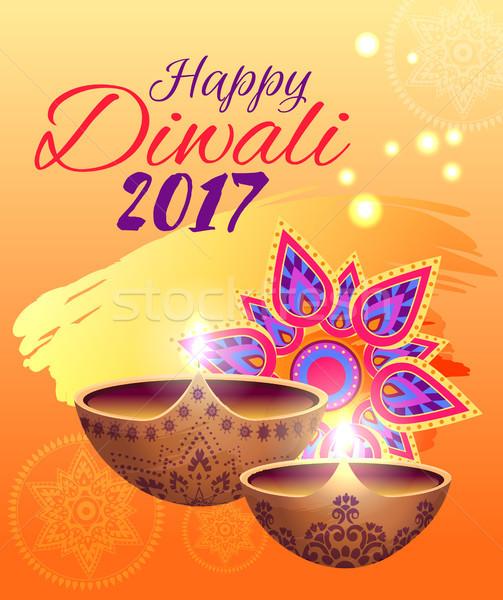 Foto stock: Feliz · diwali · festival · luzes · brilhante · cartaz