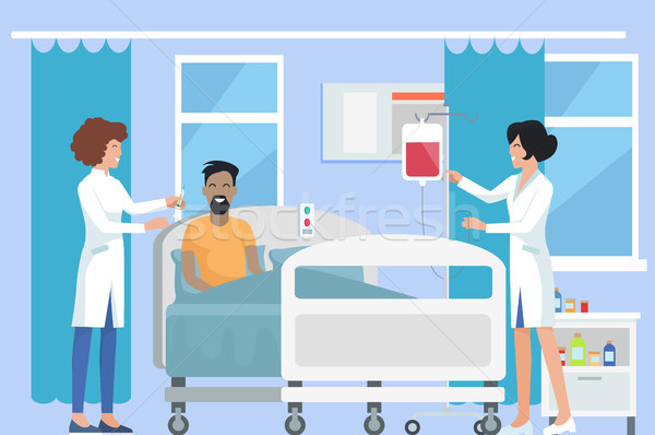 Nurses Caring for Patient on Vector Illustration Stock photo © robuart