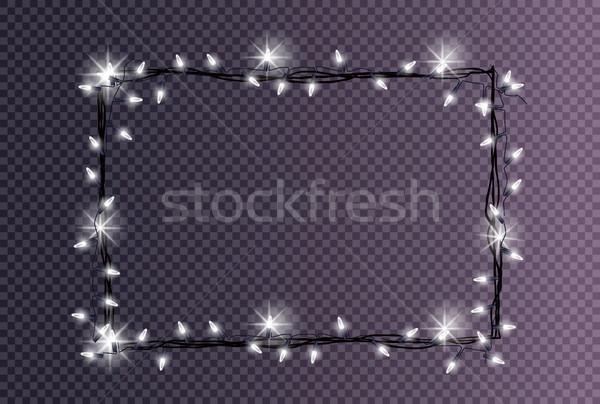 Prostokątny ramki christmas światła biały Zdjęcia stock © robuart