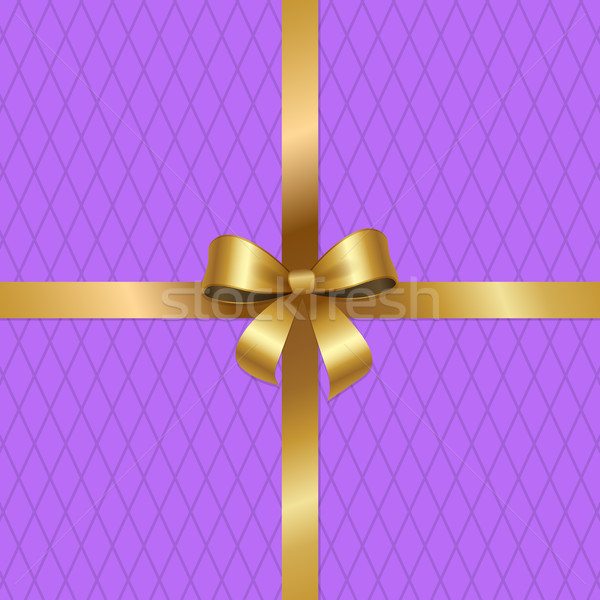 Tied Gold Bow on Crossed Ribbons Center of Vector Stock photo © robuart