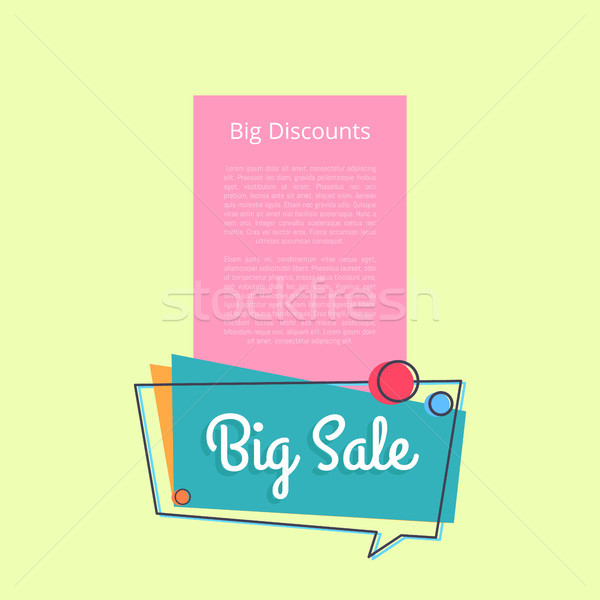 Big Sale Discounts Promotional Banner Text Vector Stock photo © robuart