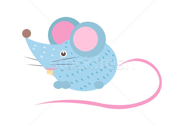 Closeup Blue Mouse with Tail Vector Illustration Stock photo © robuart