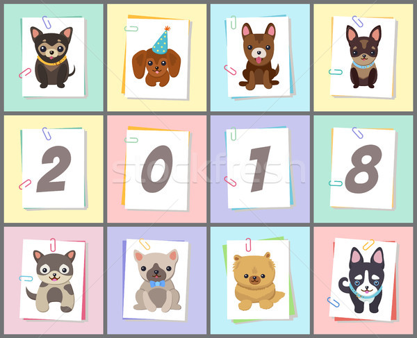 New Year 2018 Symbol Dog Vector Illustration Stock photo © robuart