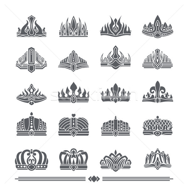 Set of Crowns Colorless Banner Vector Illustration Stock photo © robuart
