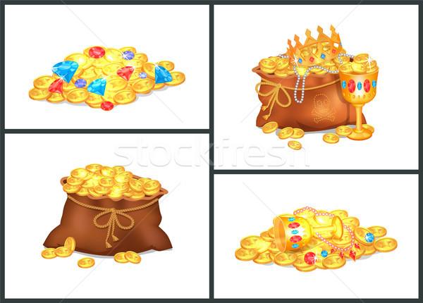 Arany érmék értékes öreg szatyrok drága kövek Stock fotó © robuart