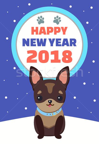 с Новым годом собака плакат сидят синих воротничков Сток-фото © robuart