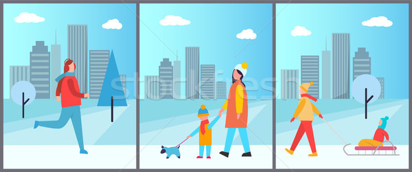 Snowy Wintertime City Park Vector Illustration Stock photo © robuart
