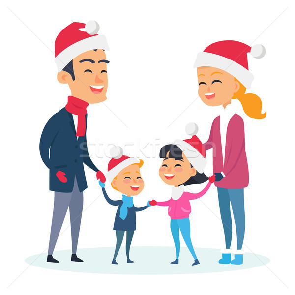 Happy Family in Warm Clothes on White Background Stock photo © robuart