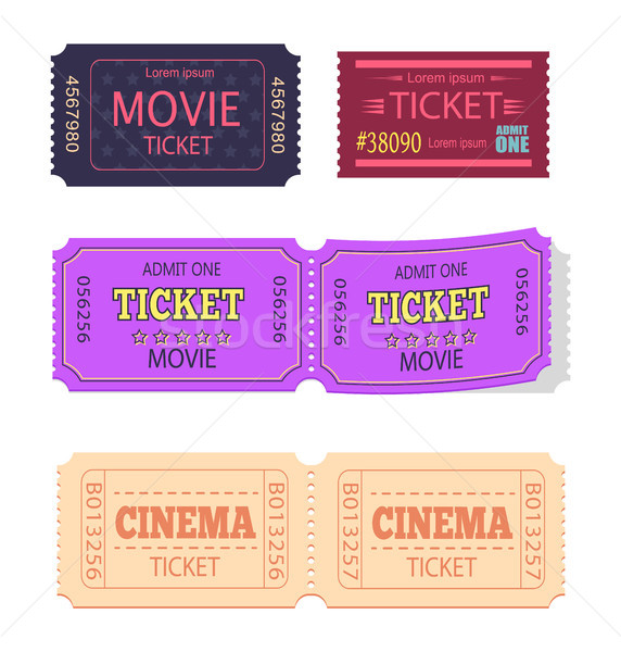 Set of Movie Cinema Tickets Admit One Vector Icons Stock photo © robuart