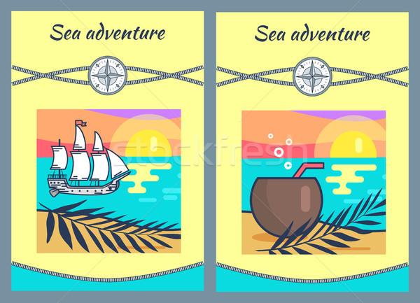 Sea Adventure Banners Set Vector Illustration Stock photo © robuart