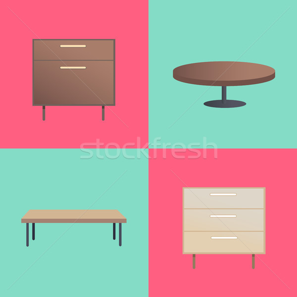 Stylish Wooden Furniture With Smooth Surfaces Stock photo © robuart