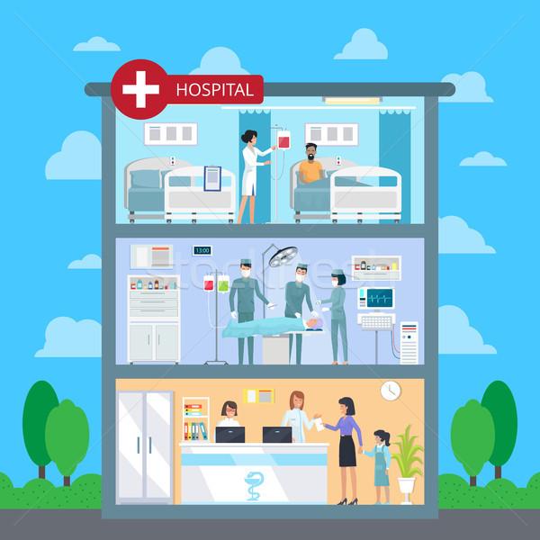 Hospital with White Cross Vector Illustration Stock photo © robuart