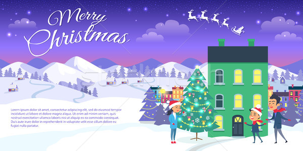 Stock photo: Merry Christmas on City and Blue Sky Background