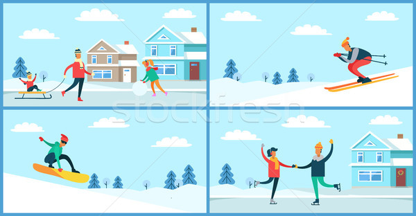 Winter Sport and Activities Vector Illustration Stock photo © robuart