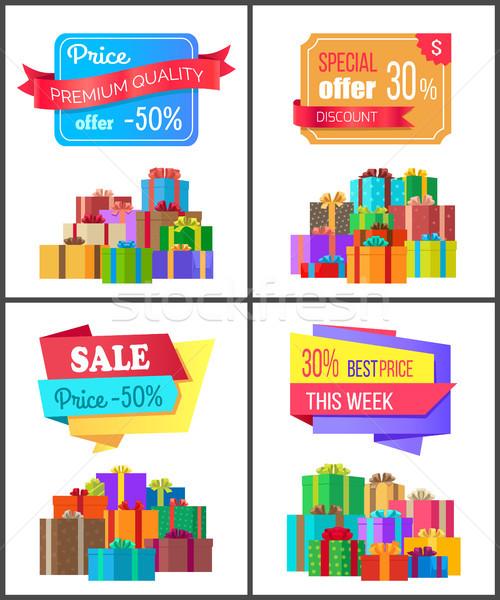 Négy akció árengedmény legjobb ár vásár kártyák Stock fotó © robuart