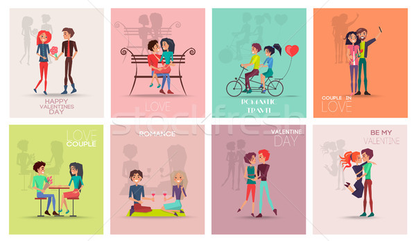 Happy Valentines Day Posters Vector Illustration Stock photo © robuart