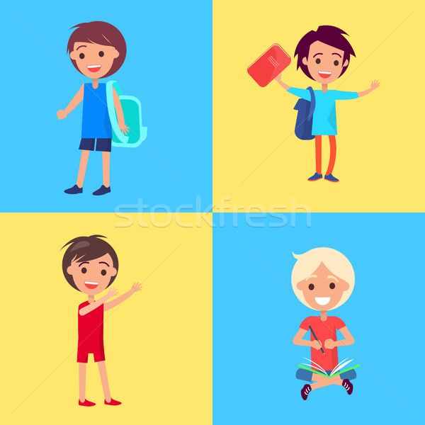 Smiling Girls and Boys Isolated Illustrations Stock photo © robuart