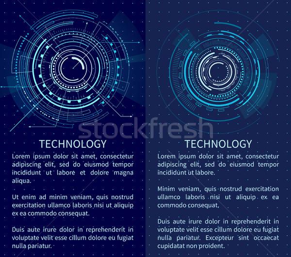 Teknoloji afiş iki arayüz desen metin Stok fotoğraf © robuart