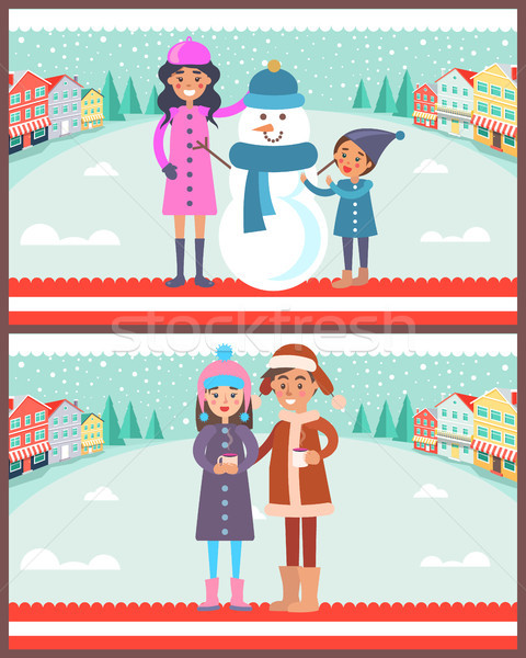 Mother and Child Makes Snowman Vector Illustration Stock photo © robuart
