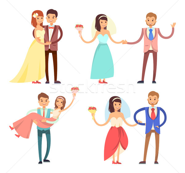 Newlyweds Celebration Set Vector Illustration Stock photo © robuart