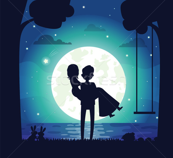Silhouette of Couple in Love Vector Illustration Stock photo © robuart
