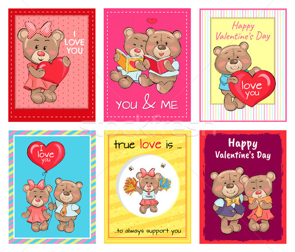 Happy Valentines Day Set of Posters, True Love Set Stock photo © robuart