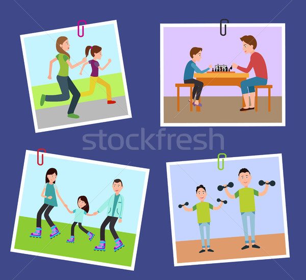 Four Family s Pictures Fixed on Color Paper Clips Stock photo © robuart