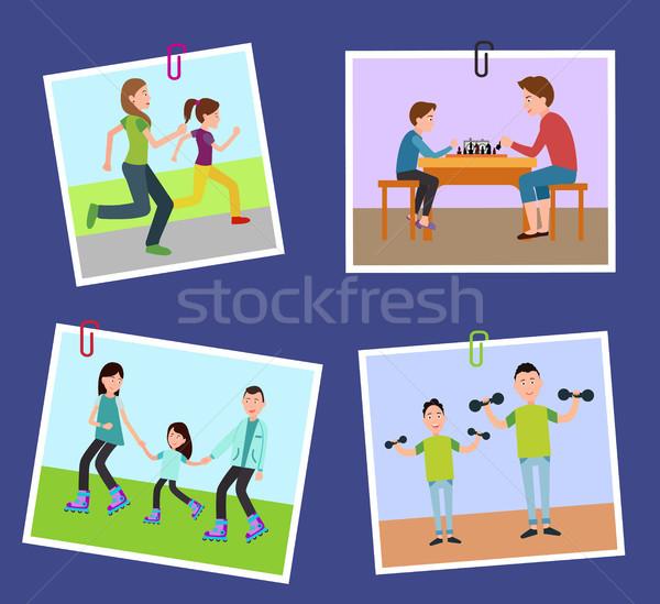 четыре семьи фотографий зафиксировано цвета бумаги Сток-фото © robuart