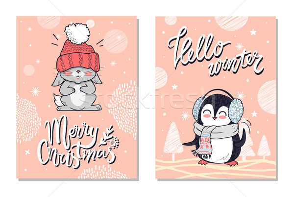 Merry Christmas Greeting Cards with Penguin Rabbit Stock photo © robuart
