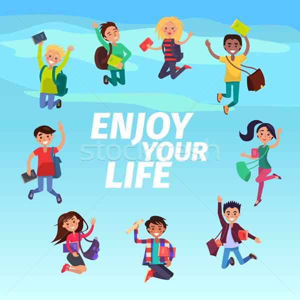 Bouncing Students Hovering in Sky Enjoy Your Life Stock photo © robuart