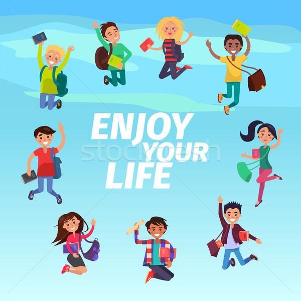 Studenten zweven hemel genieten leven Blauw Stockfoto © robuart